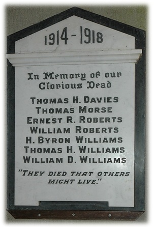 Plaque in memorial to the Fallen of the First World War